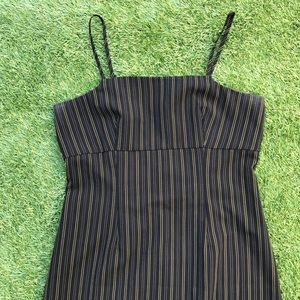 y2k pinstripe midi dress
